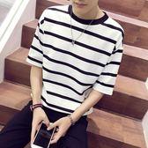 夏季條紋印花短袖t恤男士寬鬆大碼五分袖正韓青少年半袖潮流學生