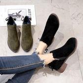 韓版蝴蝶結及踝靴百搭中跟圓頭短靴女鞋馬丁粗跟裸靴優家小鋪