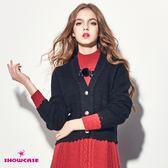 【SHOWCASE】V領開襟蕾絲花邊短版針織外套(黑/白)