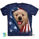 【摩達客】(預購)美國進口The Mountain 愛國小黃金獵犬 純棉環保藝術中性短袖T恤