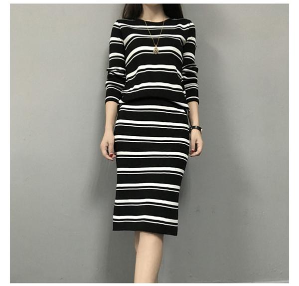 EASON SHOP(GU3734)毛衣套裝針織套裝圓領條紋長袖女上衣鬆緊腰長裙秋冬裝韓素色寬鬆包臀裙開岔收腰