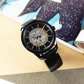 CK / K9A244CY / 限量款 Swing 低調奢華 機械錶 鏤空錶盤 藍寶石水晶玻璃 皮革手錶 黑色 41mm