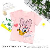 卡通 黛西貼鑽甜美上衣 蝴蝶結 唐老鴨 鴨子 迪士尼 短袖 T恤 女童