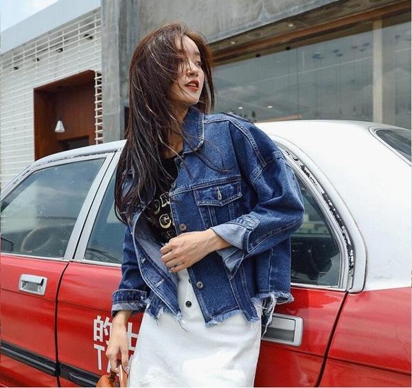 牛仔外套女寬鬆學生韓版BF風小清新短款港味2019秋裝新款粉色上衣