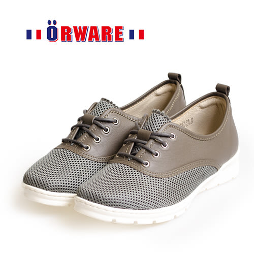 ORWARE-針織圖騰混搭布休閒鞋 /女款652057-25(鐵灰)