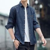 秋季潮流男士牛仔長袖襯衫正韓修身棉質青年襯衣時尚休閒外套大碼