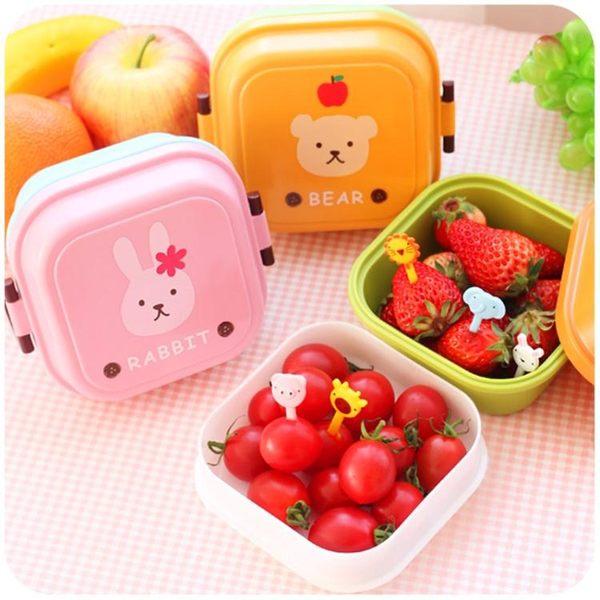 日式可愛兒童寶寶水果盒保鮮盒塑料便攜小號迷你便當盒「青木鋪子」