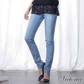 Victoria 淺藍個性方袋小直筒褲-女-淺藍