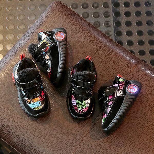 冬新款發光鞋正韓男童加絨閃燈運動鞋女寶寶學步棉鞋軟底1-3歲2保暖短靴