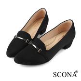 SCONA 蘇格南 優雅舒適尖頭低跟鞋 黑色 31035-1