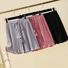 中大尺碼短褲 鬆緊腰闊腿褲女夏季大碼胖mm減齡百搭短褲顯瘦直筒褲系帶休閒熱褲