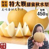 【果之蔬】台灣東勢甜蜜秋水梨X1顆【450克±10%/顆】