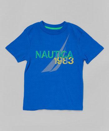 Nautica短袖上衣 1983Logo系列基本款藍色短袖T恤 5號 (Final sale)