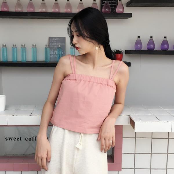 [超豐國際]夏裝寬松純色短款抹胸小吊帶外穿背心百搭顯瘦簡約打1入