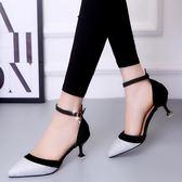 一字扣尖頭高跟鞋女正韓亮片拼色中空細跟性感淺口女單鞋