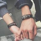 手鍊:日韓皮繩編織男女情侶手鐲  【新飾界】