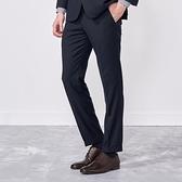 SST&C 男裝 藏青條紋修身西裝褲 | 0212009003