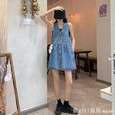 背帶裙 法式復古小個子連衣裙女夏季2021新款韓版氣質顯瘦V領牛仔背帶裙 開春特惠