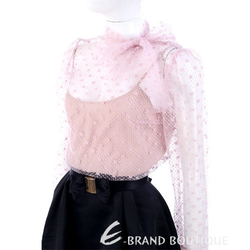 RED VALENTINO 粉紅色 點點蕾絲領結設計長袖上衣(附內搭) 1310560-05