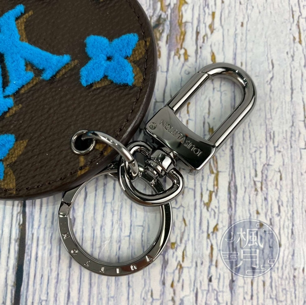 BRAND楓月 LOUIS VUITTON 路易威登 LV MP2623 藍色 原花LOGO 毛呢 鑰匙扣 吊飾 配件