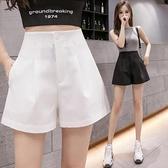 西裝褲 西裝短褲女高腰a字薄款外穿寬鬆顯瘦休閒寬管熱褲潮-Ballet朵朵