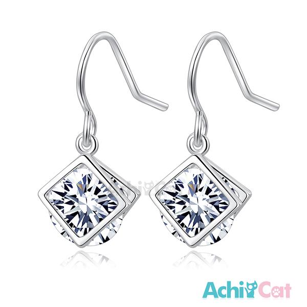AchiCat 耳環 正白K 浪漫國度 耳針式 白色 *一對價格* G7034