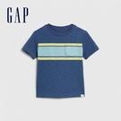 Gap男幼撞色條紋圓領短袖T恤577641-藍灰色