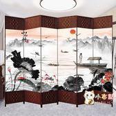 中式屏風隔斷簡易折疊客廳玄關墻行動折屏簡約現代辦公室實木屏風WY