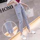 牛仔褲 ins潮破洞牛仔褲女夏季新款高腰顯瘦刺繡卷邊直筒九分哈倫褲 生活主義