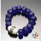 老硨磲天珠&福瓜藍琉璃手珠16mm  +平安加持小佛卡  【 十方佛教文物】