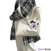帆布包 帆布包女單肩網紅包包ins布袋學生字母簡約大容量小清新韓版書包