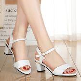 涼鞋女夏新款百搭夏季中跟羅馬高跟鞋一字扣粗跟韓版魚嘴涼鞋     麥吉良品