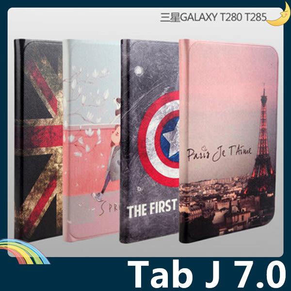 三星 Tab J 7.0 T285 卡通彩繪保護套 十字紋側翻皮套 可愛塗鴉 超薄簡約 支架 磁扣 平板套 保護殼
