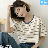 【V3121】shiny藍格子-夏日玩色.細條紋配色寬鬆短袖上衣