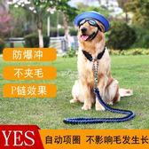 中型大型犬狗狗金毛拉布拉多遛狗繩子項圈狗鍊子P鍊牽引繩帶用品 俏腳丫