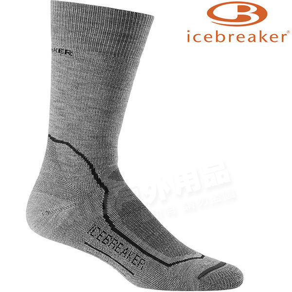 Icebreaker ND09-002淺灰 男中筒中毛圈健行襪Hike 美麗諾羊毛襪