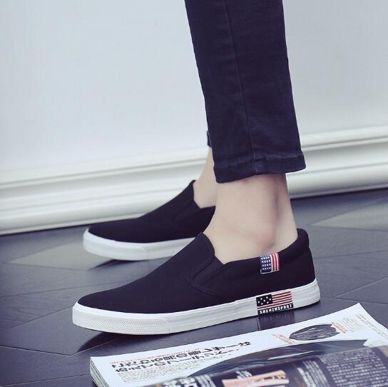 夏季新款帆布鞋女小白鞋黑色韓版百搭學生一腳蹬懶人板鞋布鞋  糖糖日繫森女屋
