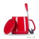 馬克杯帶蓋勺創意情侶早餐杯牛奶杯家用定制咖啡杯女水杯『櫻花小屋』