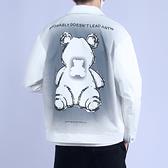 翻領外套-短款小熊印花明線口袋男夾克2色74bd6[巴黎精品]
