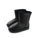 真皮雪靴 靴子 戶外休閒鞋 黑色 大童 no080