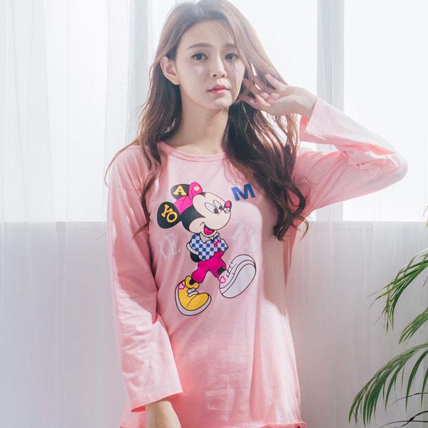 睡衣/ 衣褲 - Wonderland Minnie Walk棉質睡衣(粉)