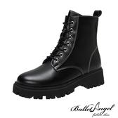短靴 都會酷感經典綁帶短靴(黑)*BalletAngel【18-6001bk】【現+預】