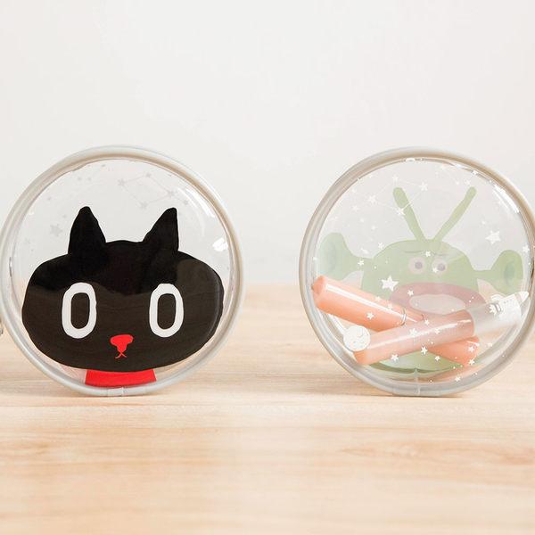 Hamee 宇宙探險家太空貓 星星拉鍊造型 透明零錢包 收納 萬用小物包 (Kuroro) ME-016001