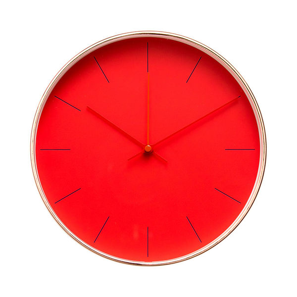Lovel 25cm 簡約玫瑰金框靜音時鐘-夕色橙紅(T722RD-RG)