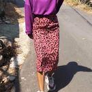 時尚過膝裙窄裙 輕盈時髦別緻後開叉豹紋長...