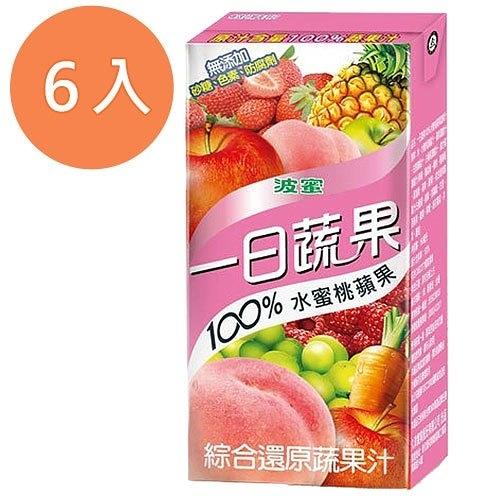 波蜜一日蔬果100%水蜜桃蘋果汁160ml(6入)/組【康鄰超市】