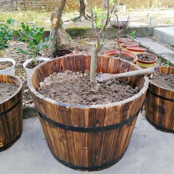 廠家直銷防腐實木花圃特大號超大口徑樹苗果樹種植種樹花盆圓形桶 「雙11狂歡購」