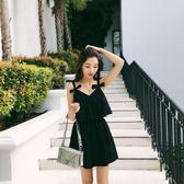 泳衣女黑色裙式連體性感顯瘦遮肚保守大碼胖mm韓國泡溫泉游泳裝女【米拉生活館】