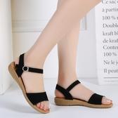 涼鞋女夏季2020新款真皮坡跟女鞋一字皮帶扣舒適平底學生女皮涼鞋 露露日記