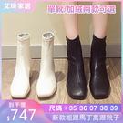 短靴 方頭短靴女2020冬季新款秋款粗跟馬丁高跟靴子百搭網紅瘦瘦靴刷毛 2色35-39